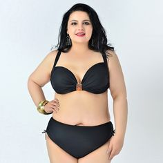 solid plus size bikini set women swimwear swimsuit large size bathing suit trikini ladies summer vacation Myrtle Beach * AliExpress Affiliate's Pin. Locate the offer simply by clicking the VISIT button