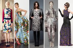 Print + Pattern: Garden Variety  Mary, Mary quite contrary how does your garden grow…in August? With graphic takes on the entire greenhouse bouquet, apparently.    L-R: Erdem, Carolina Herrera, Thom Browne, Valentino, Jenni Kayne