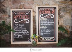 Rustic handmade chalkboard wedding signs for dinner and appetizer menus