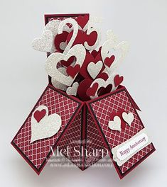 Card In A Box - Teeny Tiny Wishes, Word Window & Modern Label punches, Hearts Collection Framelits, DSP, Window Sheets - Anniversary Pop Up Box Cards, 3d Cards, Love Cards, Stampin Up Cards, Card Boxes, Valentine Day Cards, Holiday Cards, Valentine Crafts, Valentines