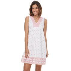Women's Croft & Barrow® Pajamas: Good Morning Border Print Sleep Shirt, Size: Medium, Med Pink