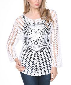 Look at this Ananda's Collection White Crochet Burst Scoop Neck Top on #zulily today!