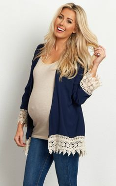 No need to pack away all of your cardigans when the weather heats up. This lightweight linen maternity cardigan is perfect all year long with its soft, comfortable flowy cut and stylish crochet detailed trim. The gorgeous hue makes this perfect for transitioning from one season into the next with ease.