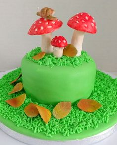 Magic Mushroom Cake With Handcrafted Snail & Mushroom Cake Toppers by SweetThingsbyLeoh on Gourmly