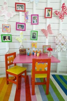 multi-color painted stripes on wood floor in kids play area