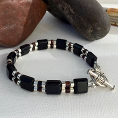 Men's Bracelet, Black Agate & Red Tiger Eye. $99 Click to buy Now! From The Stefanie Fix Collection