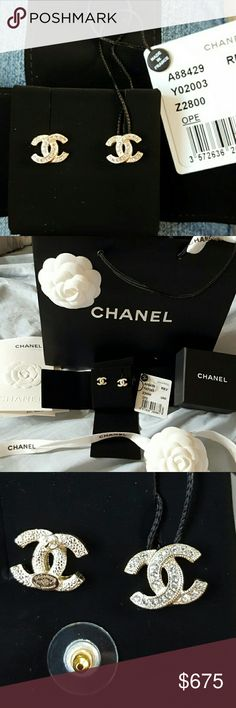 NEW authentic Chanel crystal soft gold earrings Brand new authentic Chanel crystal soft gold cc earring studs.  Comes with everything, tag,  shopping bag,  gift receipt,  velvet duster,  box, ribbon,  camellia flower. The back stamping says F17 CC LOGO  V MADE IN FRANCE CHANEL Jewelry Earrings