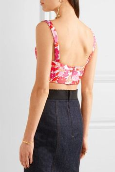 Michael Kors Collection - Floral-jacquard Bustier Top - Bright pink - US12
