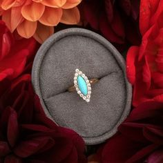 Laguna Victorian Era Navette Turquoise Cocktail Ring from Trumpet & Horn <3