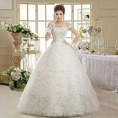 Vestido de Noiva Trapézio Ombro a Ombro Comprido (Tule) – BRL R$ 376,17