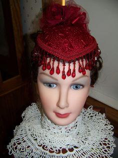 Ladies Red Victorian Civil War Teardrop Hat  with by civilwarlady, $39.99