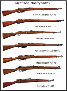 Infantry Rifles of The Great War Weapons Guns, Guns And Ammo, Battle Rifle, Bolt Action Rifle, Steyr, Cool Guns, Military Weapons, Military Equipment, World War One