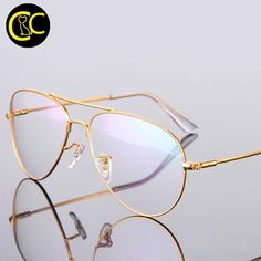 Gold Aviation clear frame eyeglasses Oculos de grau CC0838 Retro Eye  Glasses, Cartier Gold, 44d64669ab
