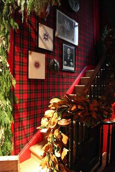 red tartan wallpaper, Habitually Chic®: Chic in NY: The Holiday Workshop Plaid Wallpaper, Holiday Wallpaper, Of Wallpaper, Tartan Decor, Tartan Plaid, Tartan Christmas, Country Christmas, English Christmas, Tartan Weihnachten