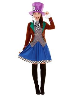 Modify your appearance to become the hatter with this miss hatter costume. The bright attire with the hat distinguishes you among the gathering. Pair with a wi