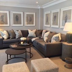 The neutral colors of this living room are perfectly echoed in the ...