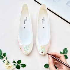 Hand-painted Wedding Shoes for unique brides Unique Wedding Shoes, Wedding Accessories, Satin Color, London Shoes, Hand Painted Shoes, Beautiful Shoes, Comfortable Shoes, Just For You, Flats