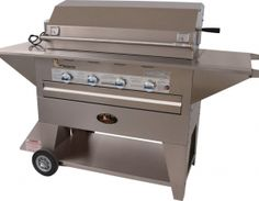 """Lazy Man Masterpiece Series 48,000 BTU 4 Burner Mobile Freestanding Grill with Electronic Ignition and Heavy Duty 8"""" Wheels LM21040MP at appliancesconnection.com. Lazy Man's Masterpiece Series four burner gas grill features all 304 stainless steel, two large side shelves, a 115 volt rotisserie, a stainless steel drip pan to catch grease, and heavy duty 8"""" wheels. #grills #grillheads"""