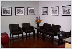 office wating room: local black and white pics on wall (larger frames, one wall=couch, add rug)