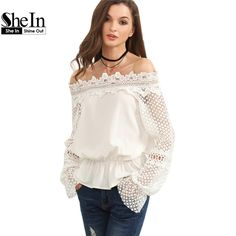 SheIn Womens New Summer Style Tops and Blouses Ladies Plain White Off The Shoulder Crochet Long Sleeve Cute Blouse aliexpress.com