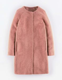 """Boden Sienna Coat. """"As if the contemporary, collarless shape wasn't enough, the Sienna Coat is also in the season's most covetable fabric – mohair. Wear it when only your most stylish self will do."""" #NewBritish"""