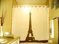 Eiffel Tower Shower Curtain Paris France bathroom decor    Any eiffel tower curtain will work...as long as it goes with my black/white and red bathroom.