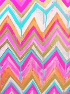 chevron: pink, orange and blue