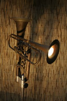musical instrument repurposing: Lighting. tubas #trumpets #lamps #furniture #home #music #musical #instruments #decor #repurposed #decoration #love #room  #instrumental #brass