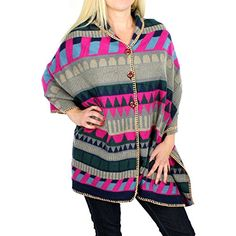 Grey Convertible Tribal Aztec Sweater Knit Shawl Cape Wear as Scarf or Wrap >>> You can get more details by clicking on the image.