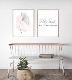Holy spirit you are welcome here,Christian wall art,Christian sign,Christian gifts,Jesus,God,Religious,Ginkgo,Above the coach art,Bedroom by PrintableLoveStory on Etsy Christian Wall Decor, Christian Signs, Photo Collage Template, Paris Wall Art, Beauty Salon Decor, Or Mat, Bible Verse Wall Art, Teal Walls, Vanity Decor