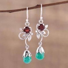 Onyx and garnet dangle earrings, 'Lost in Romance' - Leaf Motif Green Onyx and Garnet Earrings from India Garnet Earrings, Garnet Gemstone, Gemstone Jewelry, Dangle Earrings, Silver Jewelry, Jewlery, Ruby Pendant, Green Onyx, Jewelry Packaging