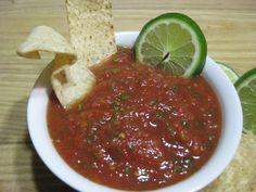 "No More ""Supermarket"" Salsa. I would add chipotle peppers for a smokey flavor."