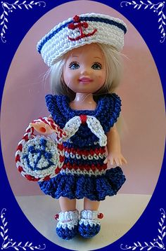 "Crochet Doll Clothes Sailor Blue Ruffle Outfit for 4 ½"" Kelly & same sized dolls"