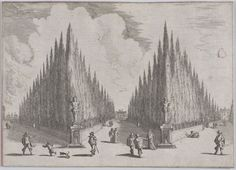 Three alleés separated by two groups of trees in pointed configurations, from 'Views of Gardens' (Vedute de' Giardini), Johann Wilhelm Baur (German, Strasbourg ca. Marquise, Paint Finishes, Aerial View, 17th Century, Horticulture, Botany, Vienna, Strasbourg, Explore