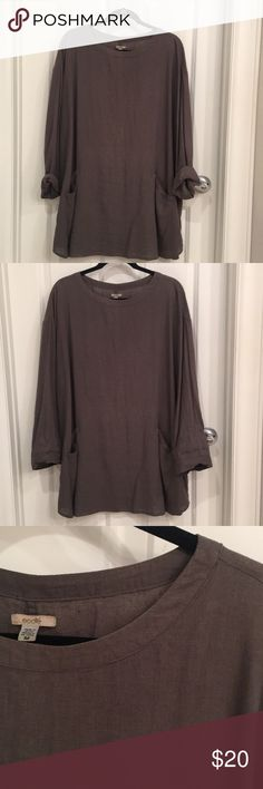 Urban Outfitters Linen Smock Shirt/Dress Charcoal grey, long sleeve, oversized shirt with two pockets in the front. Comfy, light, and easy to throw on with jeans or tights, or wear as a beach cover up. Ecote Tops Tunics