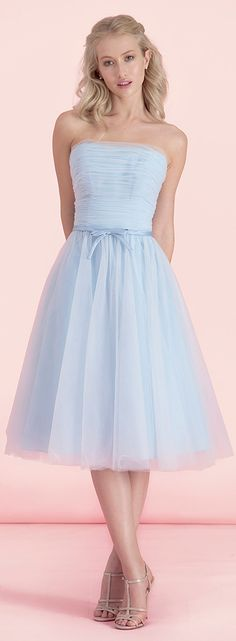 Alluring Tulle Strapless Neckline Tea-length A-line Bridesmaid Dress With Belt