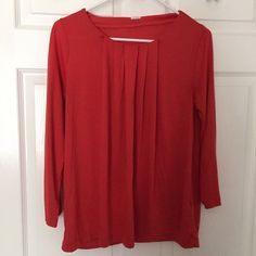 J.Crew Luxe Pleated Knot Top Selling red top from j.crew. Very soft and comfortable. J. Crew Tops Tees - Long Sleeve