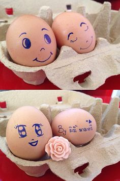 Cute ^^ Funny Eggs, Egg Designs, Rock Art, Happy Easter, Easter Eggs, Origami, Projects To Try, Rocks, Marriage