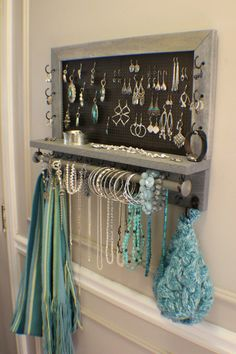 Jewelry Organizer You Get To Pick The Stain, Mesh and Hook Color, Scroll Trim Series Wall Mounted Jewelry Organizer - Bathroom Organization - 9 Easy DIY Projects that are inexpensive and easy to complete. Many require no tools, just some creativity! Wand Organizer, Wall Mount Jewelry Organizer, Bracelet Organizer, Organizers, Diy Jewelry Holder, Jewelry Hanger, Diy Earring Holder, Jewelry Box, Jewelry Armoire