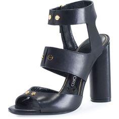 Tom Ford Rivet Leather 105mm Sandal (16.160.200 IDR) ❤ liked on Polyvore featuring shoes, sandals, black, black leather shoes, strappy leather sandals, strap sandals, black strap sandals and black strappy shoes