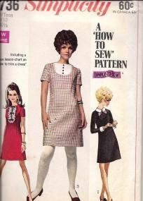1960's Yng Jr/Teen MOD Dress, Simplicity 7736, Everyone sewed in those days before cheap clothes.We took sewing in Home EC at school....