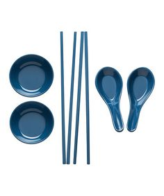 Loving this Slate Chopstick, Bowl & Spoon Set - Set of Eight on #zulily! #zulilyfinds
