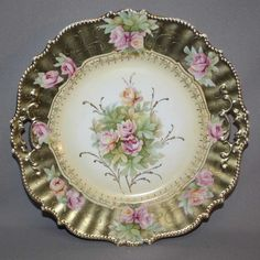 Antique RS GERMANY CAKE PLATE Gold and Flowers DOUBLE OPEN HANDLES