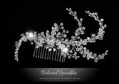 Reina Floral Spray Hair Comb | Swarovski Crystal