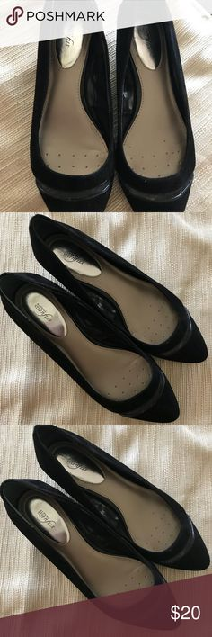 """Alfani Size 9.5 Wedge Heels..  EUC. Alfani Size 9.5 low wedge heels. EUC. Fit like a 9.  Very cute.  Step n flex style for comfort. 2"""" wedge heel.  Suede with leather trim and mesh insert across front. Smoke and pet free home. Alfani Shoes Heels"""