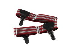 Red Striped Double Grip Sock Garters