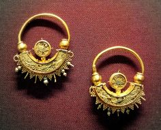 British Museum Byzantine about AD900 Gold and enamel earrings
