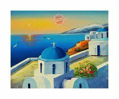 Santorini 9- Painting on Canvas Mediterranean Santorini Greece Blue Roof White House Red Flowers