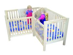 This one would be perfect! twin baby stuff | Twin Corner Cot available in White or Rimu Stain $699