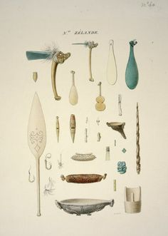 Antoine Chazal: 28 artifacts brought to France by Duperrey from the Bay  of Islands in 1824. 2 axes, a patu and 3 mere, a fork made from a bone of Korokoro, Chief of Kahouwera Pa, a feeding tube, 4 flutes, a comb, 4 fish hooks, an oar, 2 carved waka huia, a kumete or bowl, a bailer, a tiki, earrings other small adornments, and a carved stick.